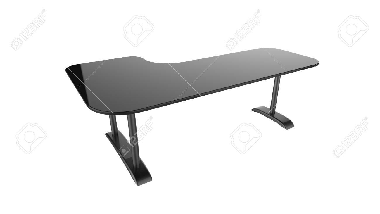Rendu d de table de bureau noir isolé sur fond blanc banque d