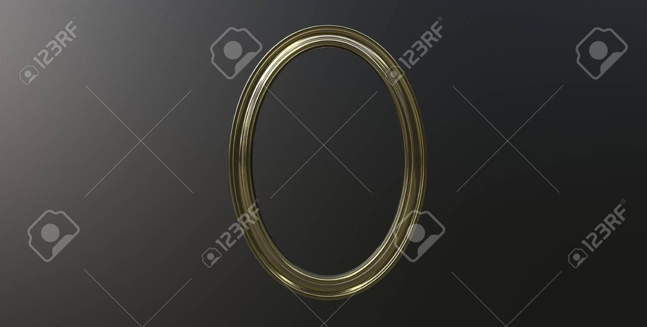 3d rendering of cool modern hanging metallic gold color oval