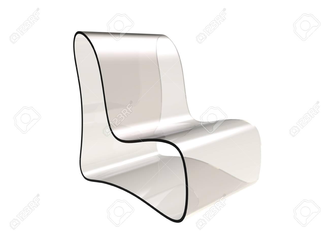 Banque Du0027images   Rendu 3D De La Chaise Moderne En Plastique Transparent  Isolé Sur Fond Blanc