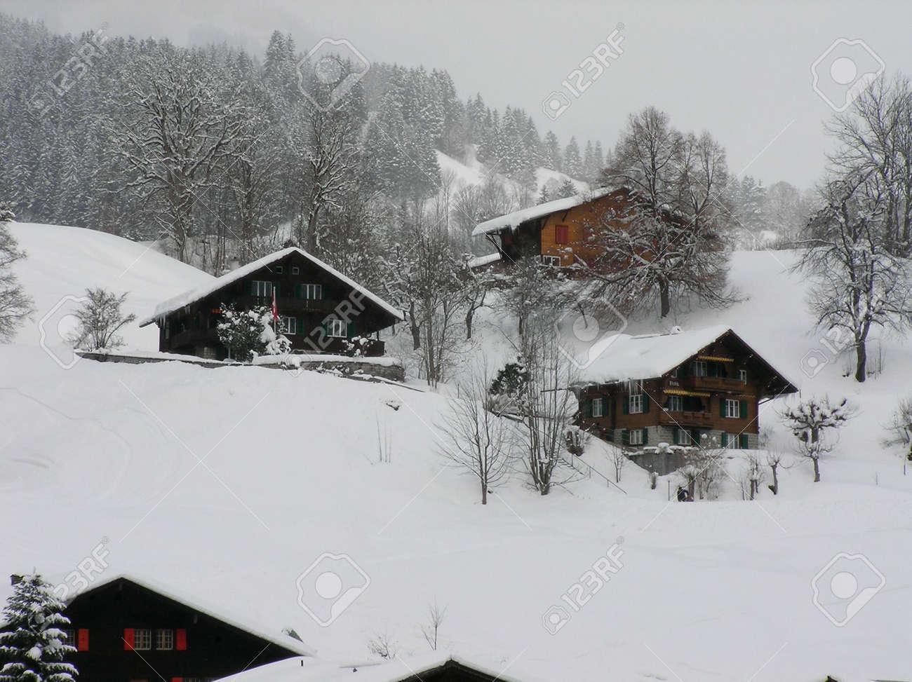 Beautiful winter landscape with a snowy village in Switzerland Stock Photo - 766052