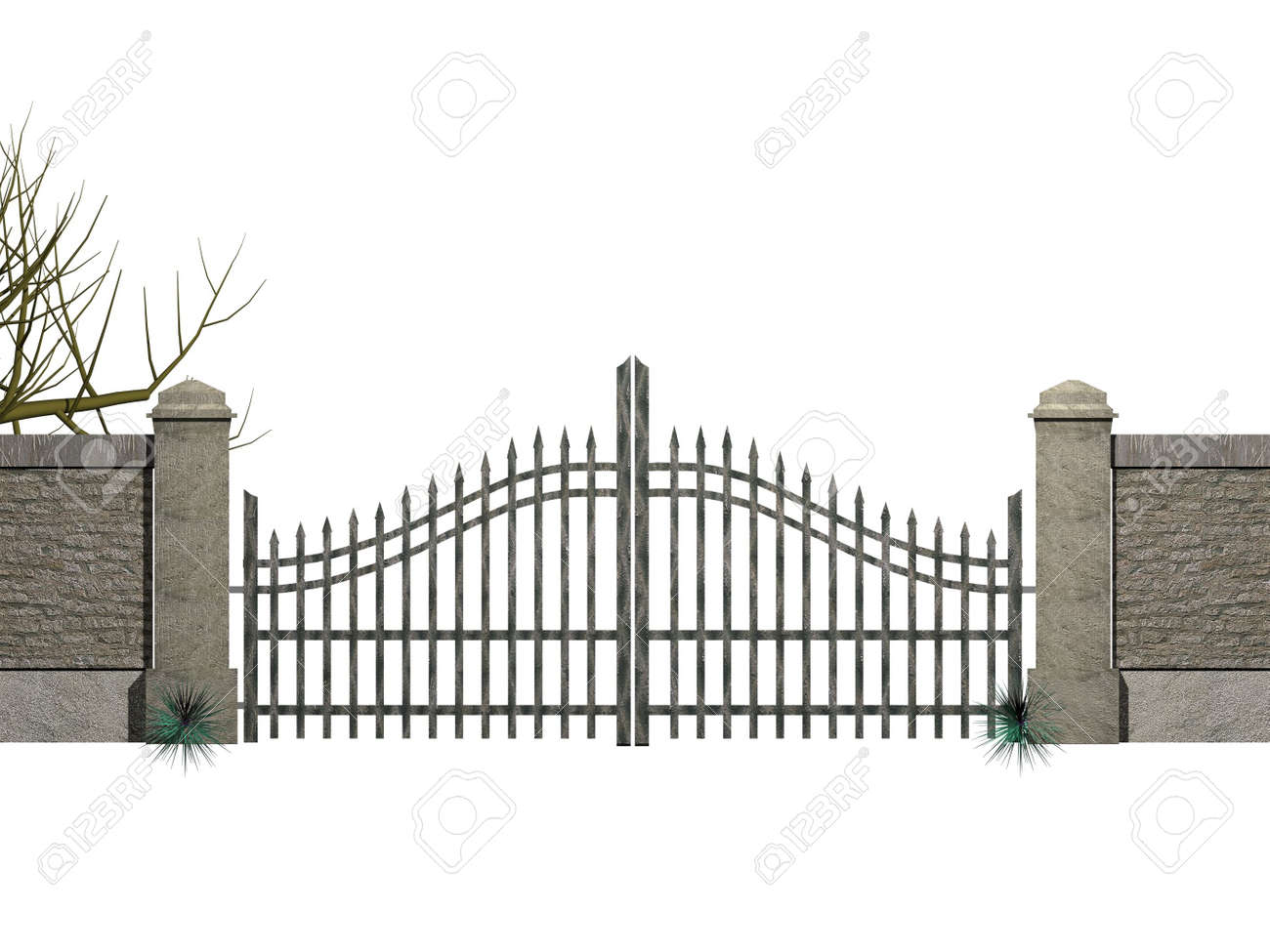 A gate with bushes isolated on white Stock Photo - 767319