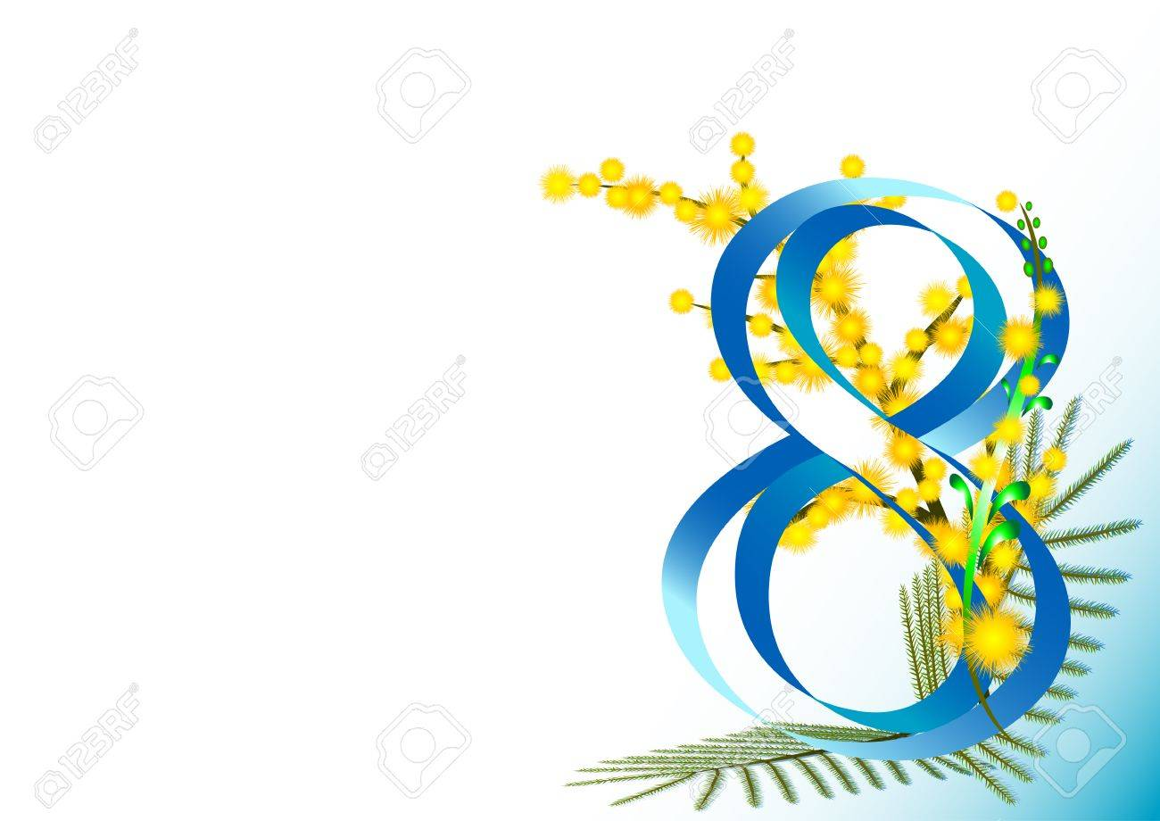 V card background images - Holiday Greeting Card With Twigs Of Mimosa On White Background On International Womens Day March