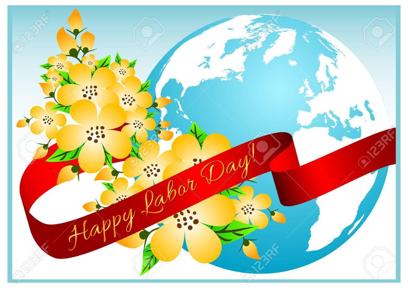 春と労働の祝日のはがきメーデー青い地球と桜の花ベクトル図の