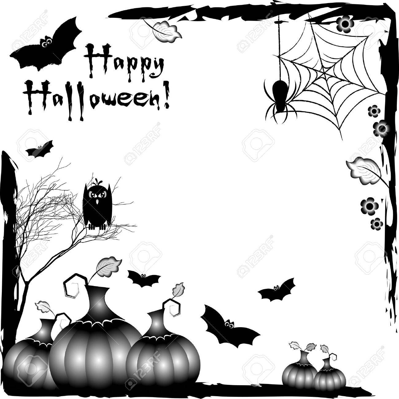 Holiday Illustration On Theme Of Halloween. Black Corner Frames ...