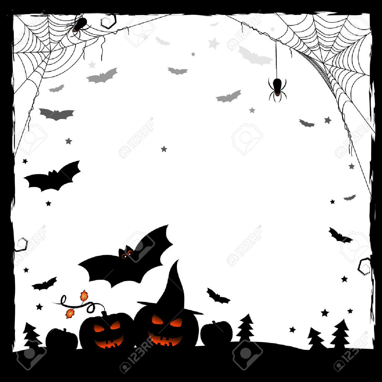 Holiday illustration on theme of Halloween. Black and white frame with pumpkins, spiders on web and bats. Wishes for Happy Halloween. Trick or treat. Vector illustration - 45228730
