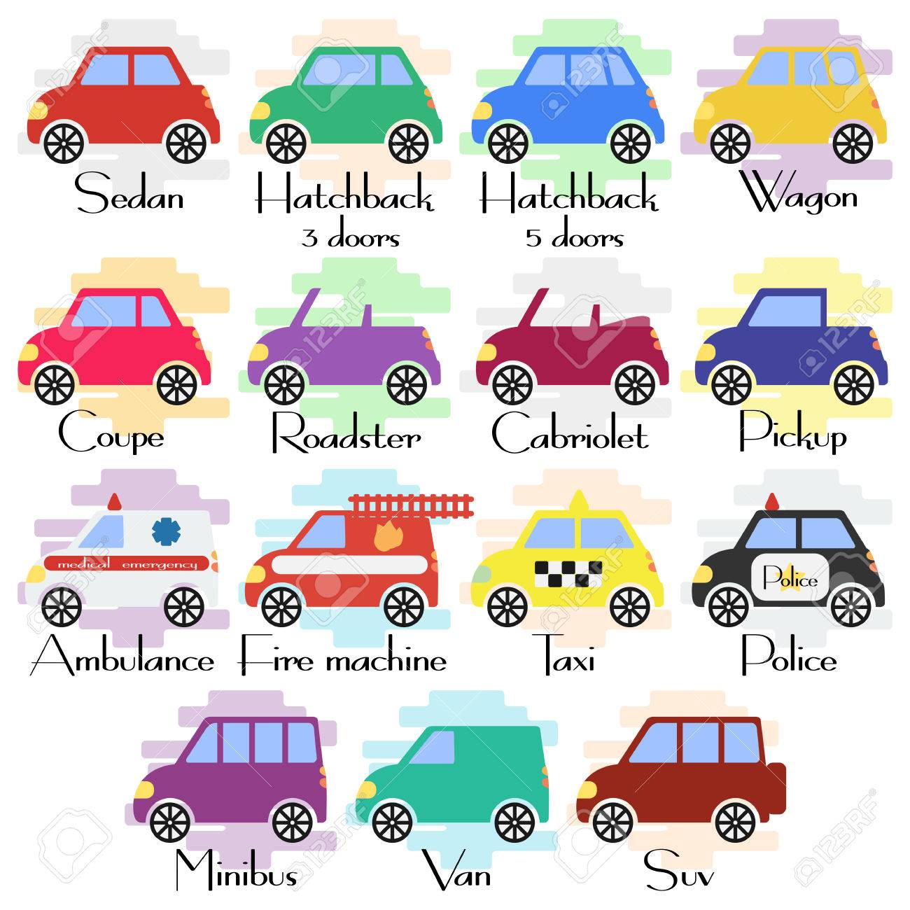 set of various kinds of car body icons in flat style types of