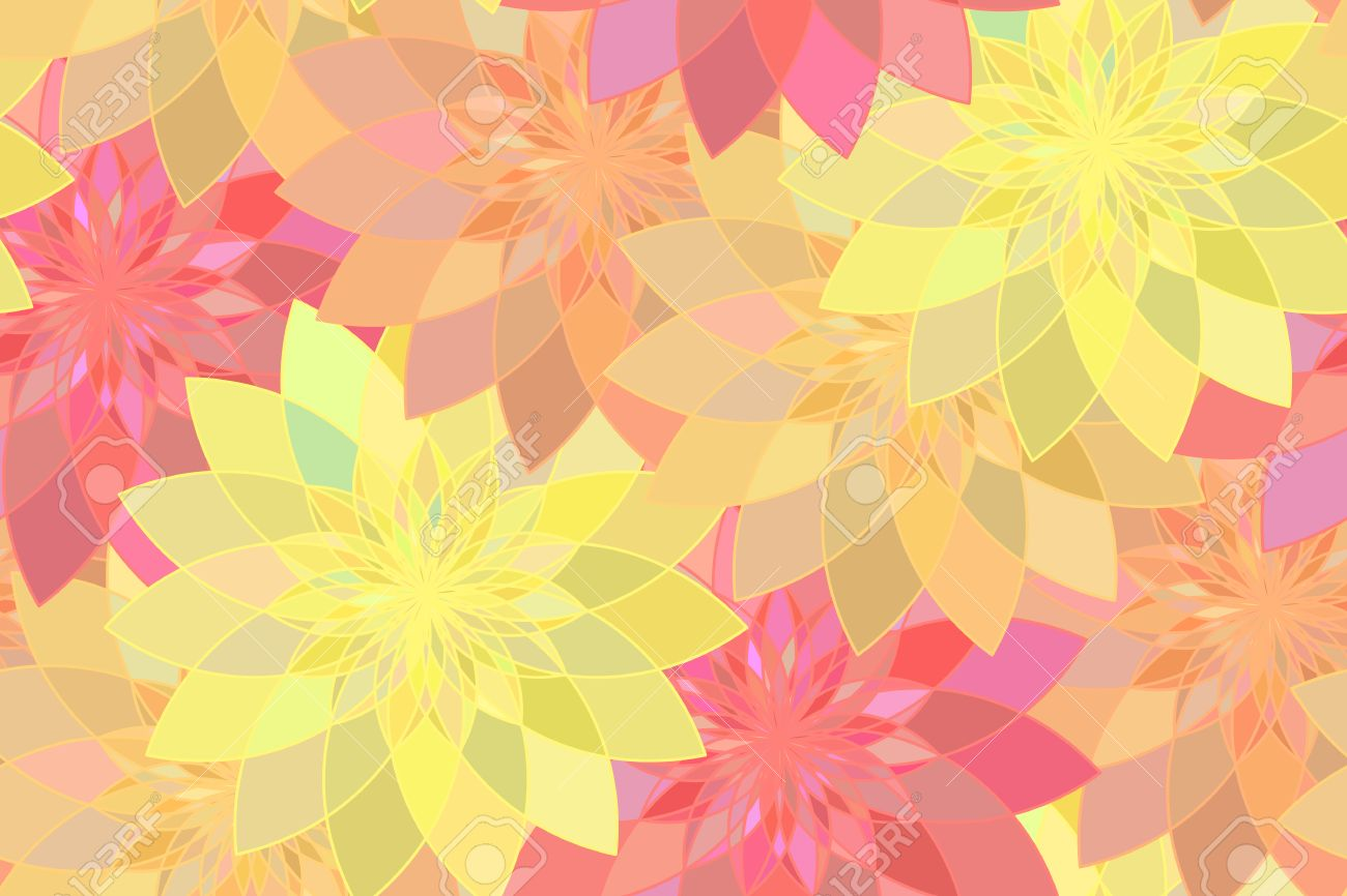 Seamless Pattern With Red Yellow And Orange Floral Guilloche
