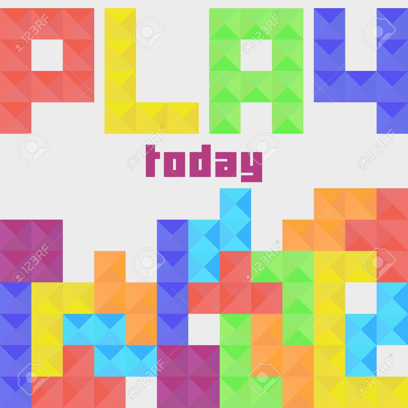 Classic game of Tetris  Colorful tetrimino pieces in row  Play