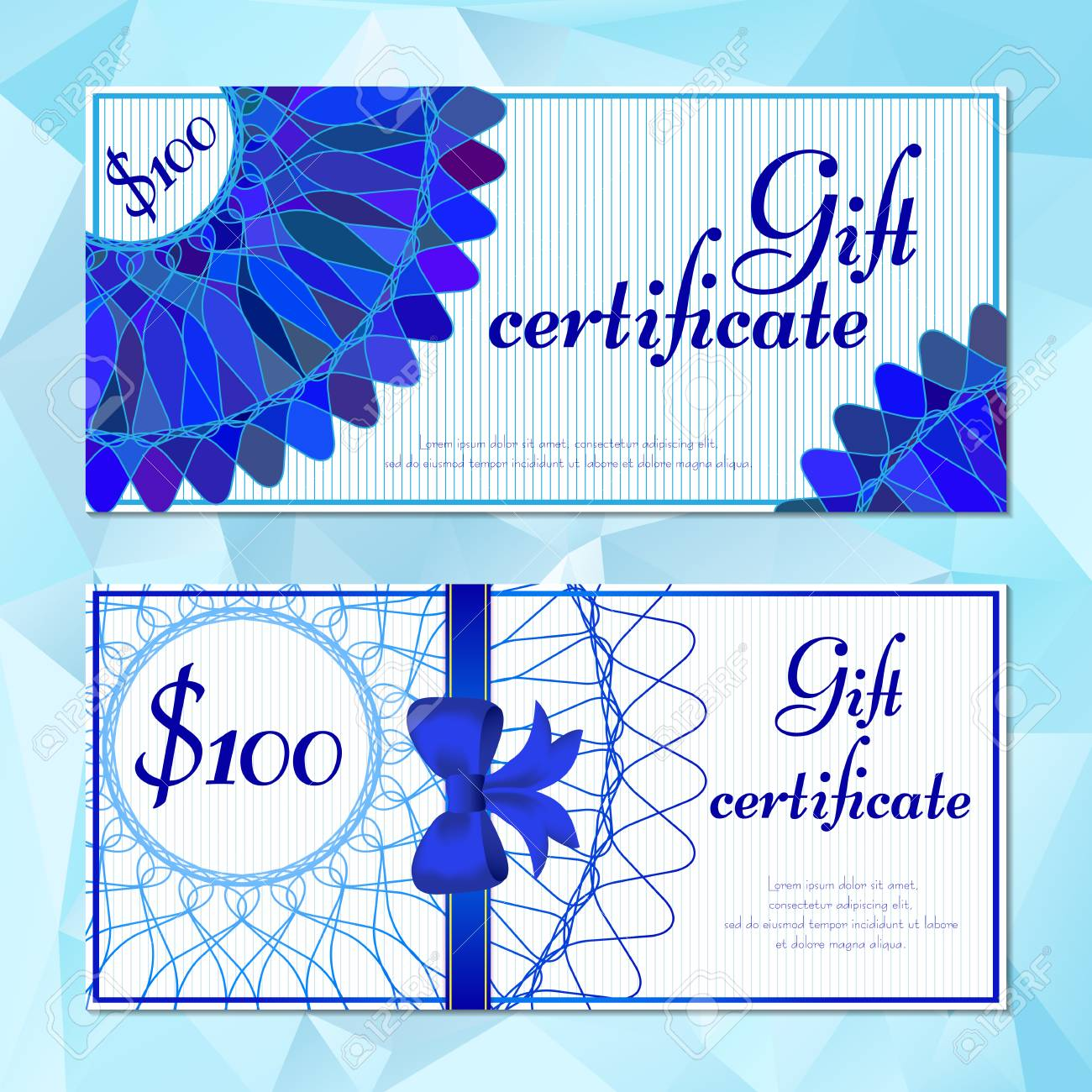Fashion Templates Of Gift Vouchers In Two Versions With Blue Mandala Pattern Certificates For Presents