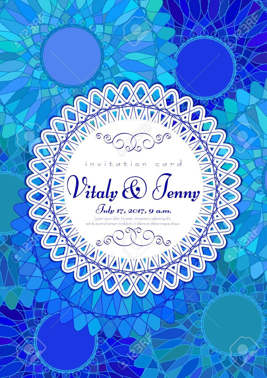 Carte D Invitation Avec Mandala Bleu Pour La Journée De La Femme La