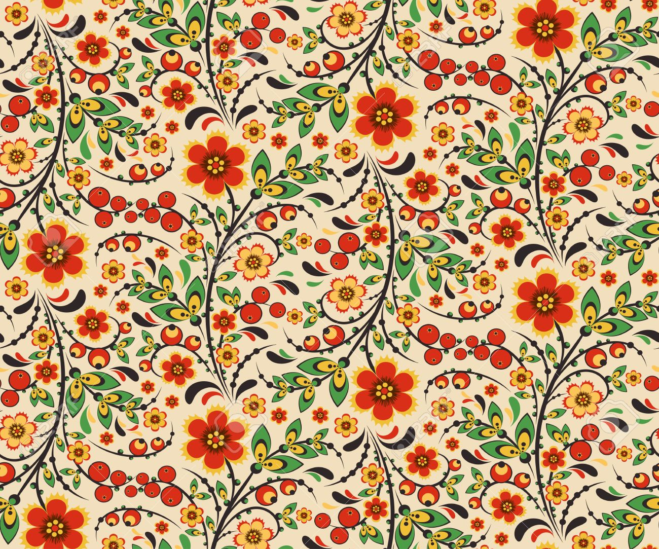 Seamless Floral Pattern With Ornamental Flowers In Khokhloma