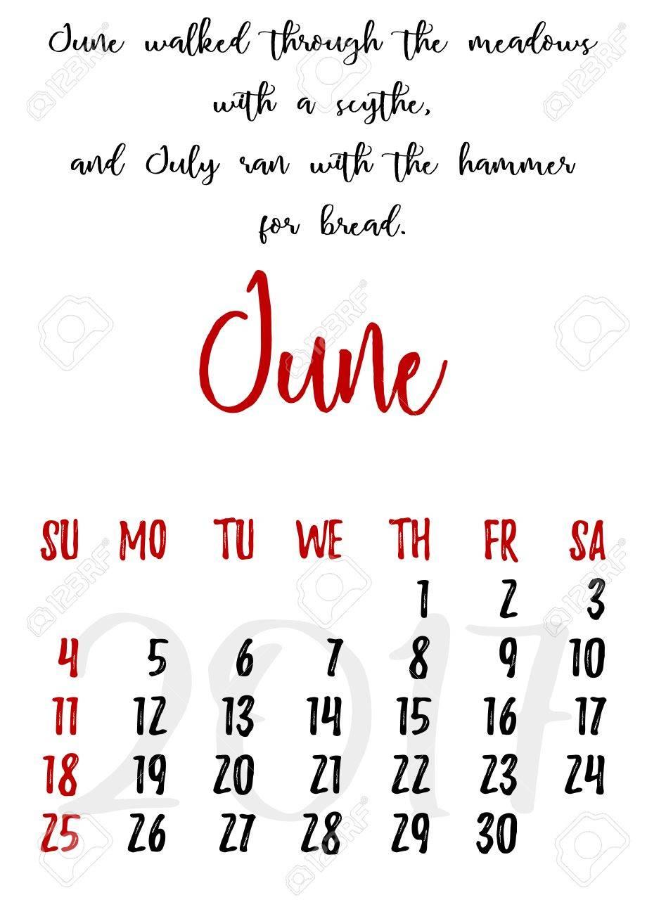 juni sprüche Kalender Design Gitter In Der Hand Geschrieben Stil Mit Russischen  juni sprüche