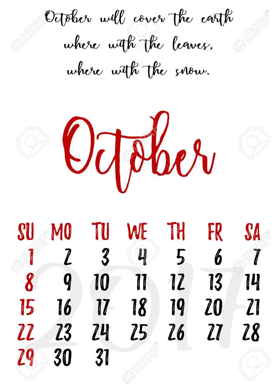 Calendario Cuadrícula De Diseño De Estilo En La Mano Escrito Con Proverbios Adagios Y Ruso Diciendo Y Las Fechas De Otoño Mes De Octubre De 2017