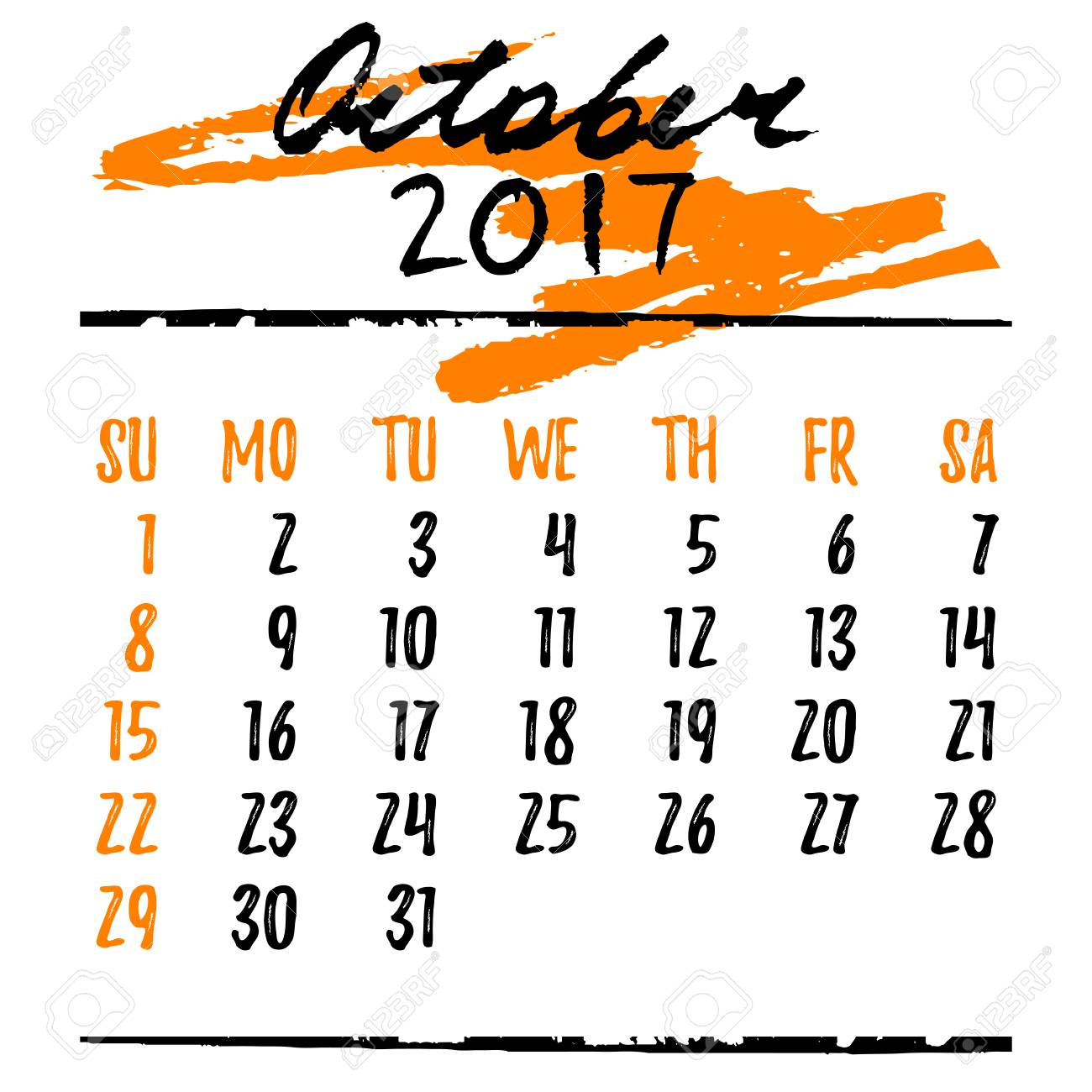October Calendar Design : Calendar design grid in hand written style with lettering and