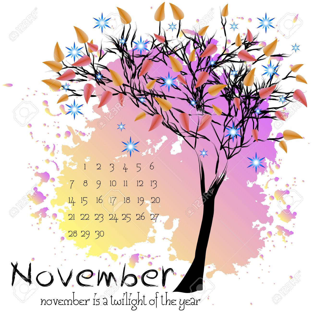 Abstract Nature Background With Autumn Tree With Scarlet Foliage And Sample  Of Dates For Calendar Month  Calendar Sample Design