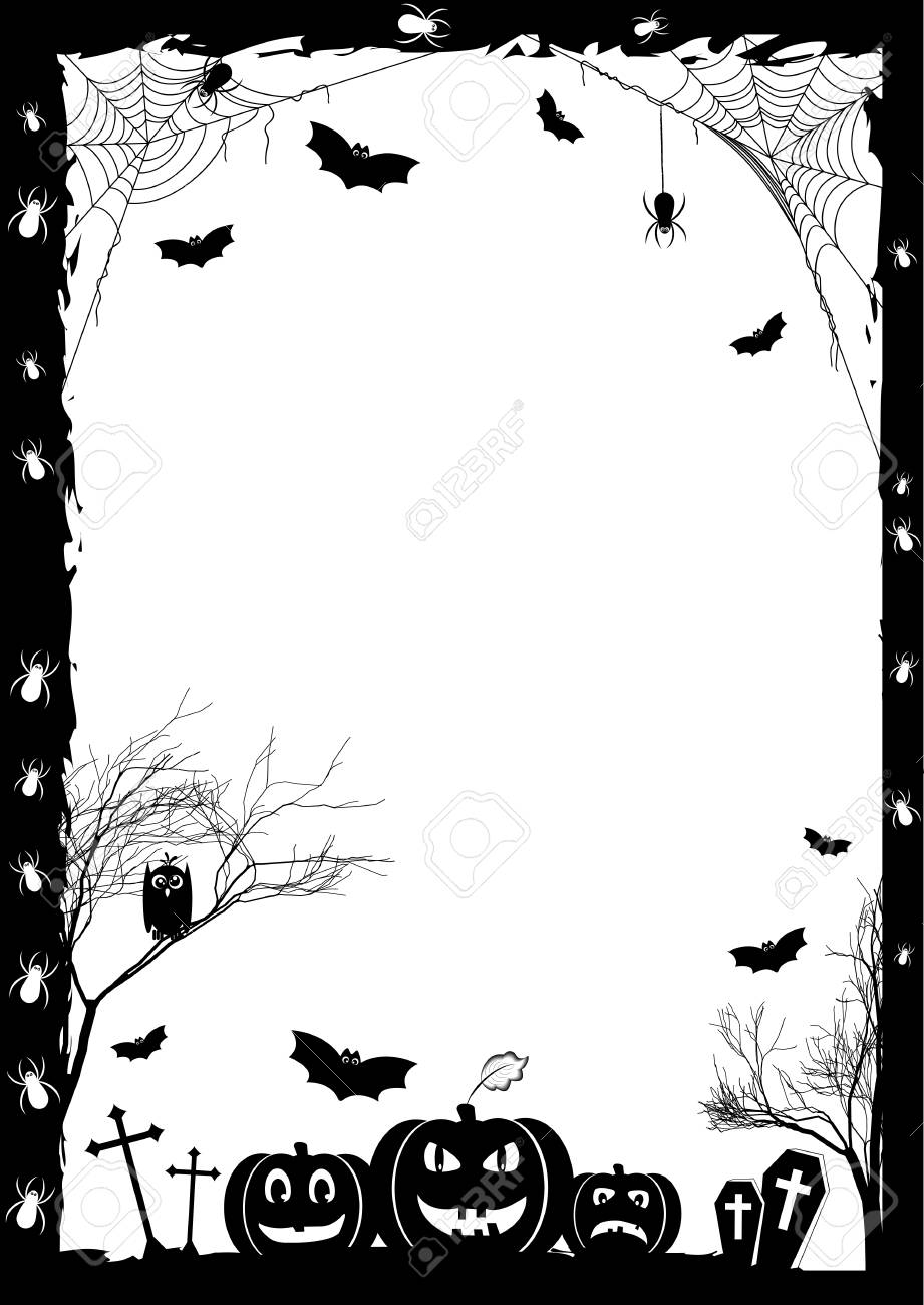 Holiday card on theme of Halloween. Black frame with pumpkins, bats and spiders on gossamers at cemetery on white. Trick or treat. Vector illustration - 61241758