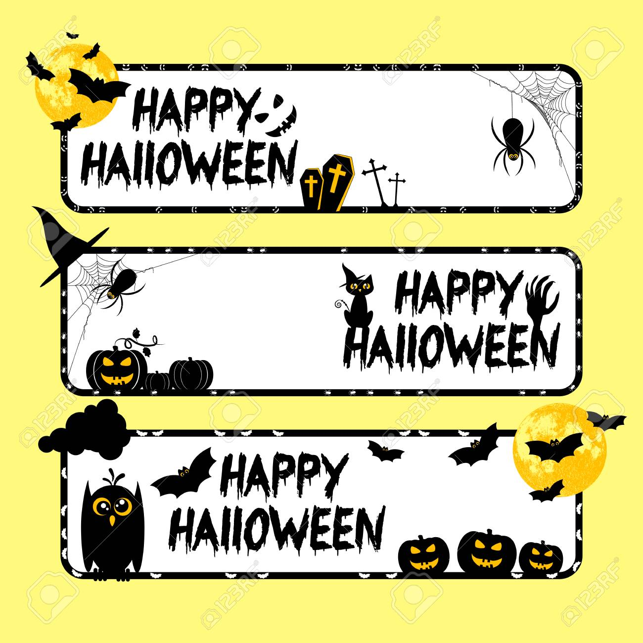 Holiday Banners On Theme Of Halloween. Black Frames With Pumpkins ...