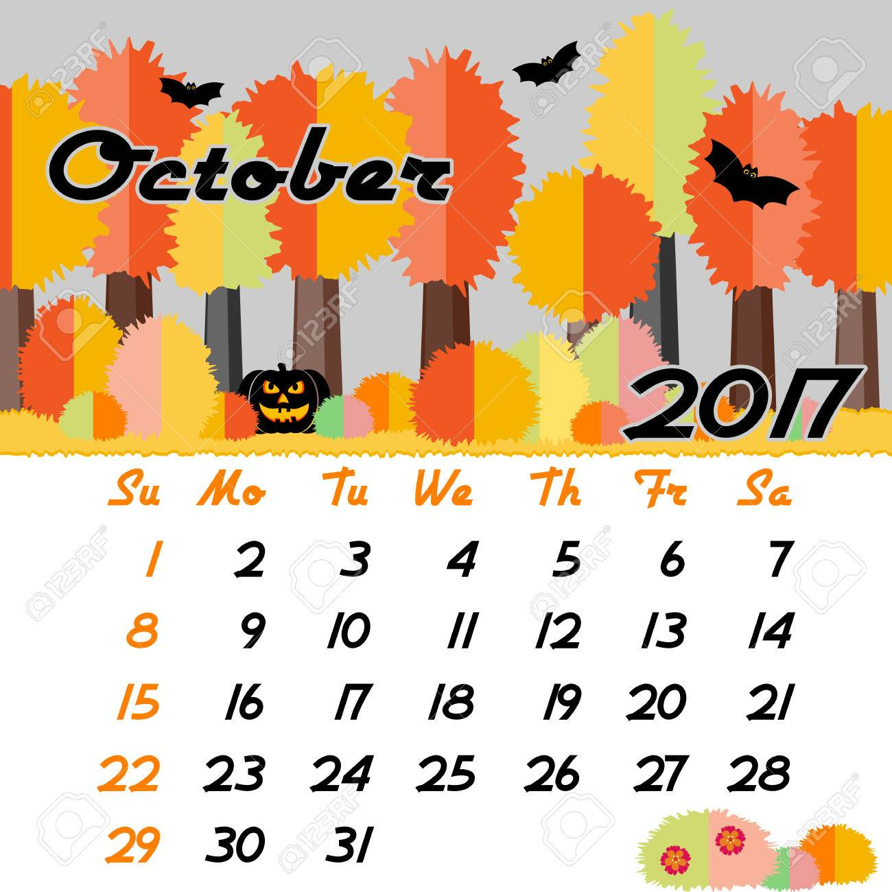 October Calendar Design : Calendar design grid with seasonal forest in flat style and dates