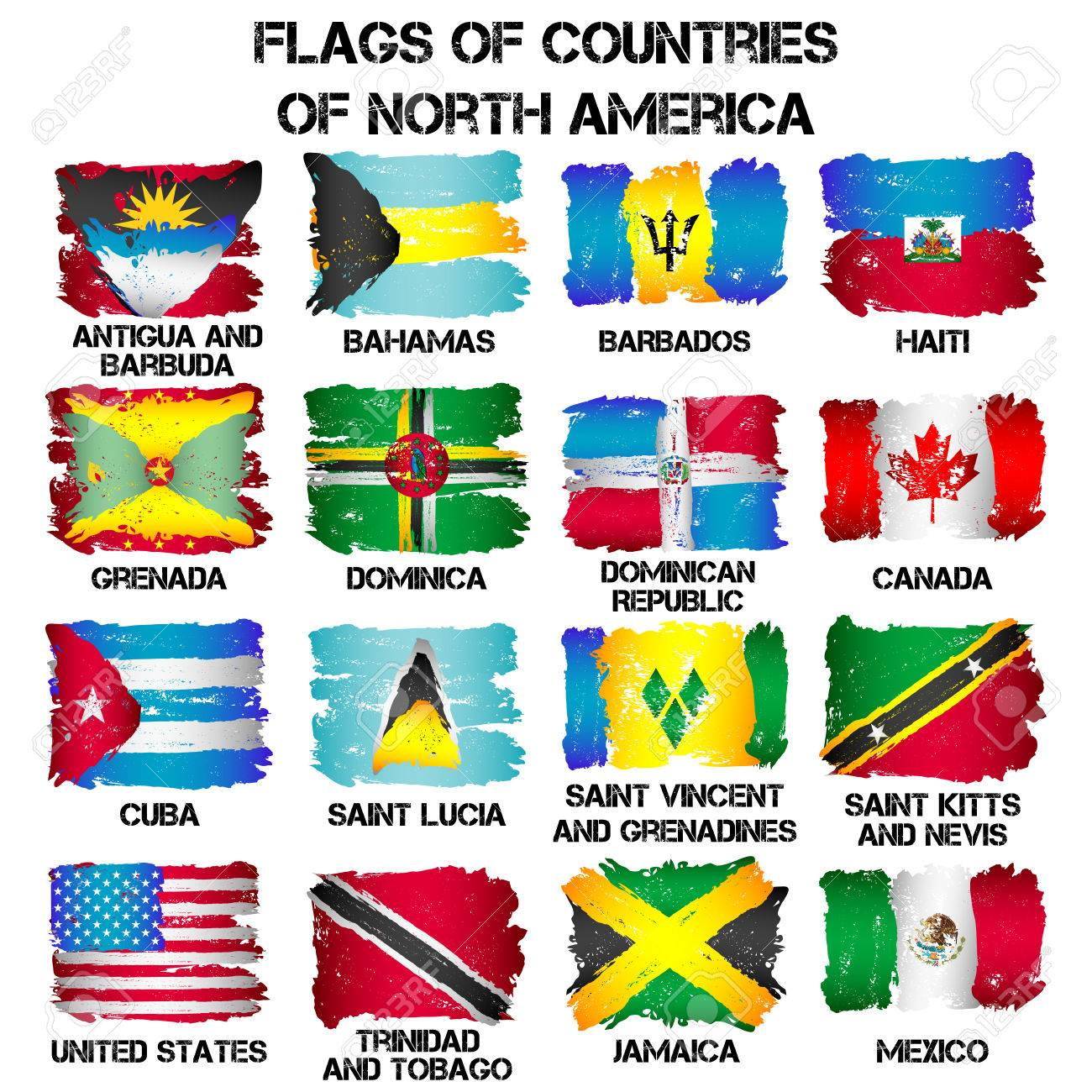 Set Of Flags Of North America Countries From Brush Strokes In - What countries are in north america