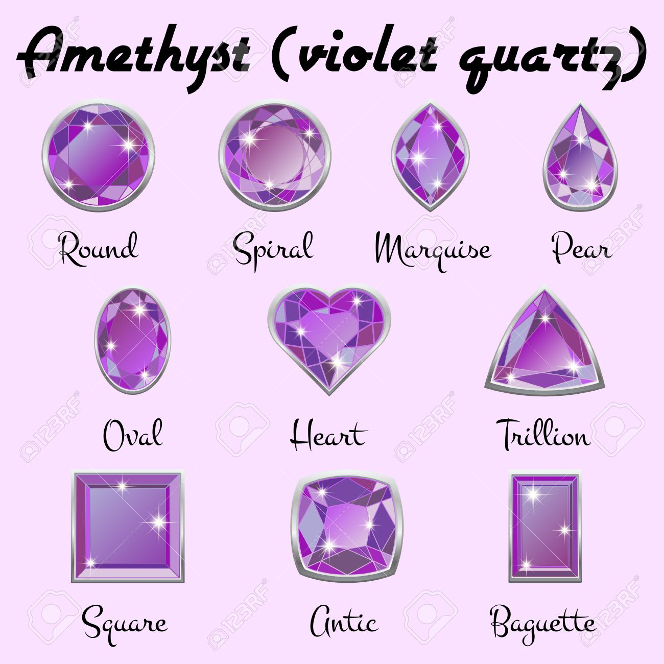 Set Of Different Types Of Cuts Of Precious Stone Amethyst In