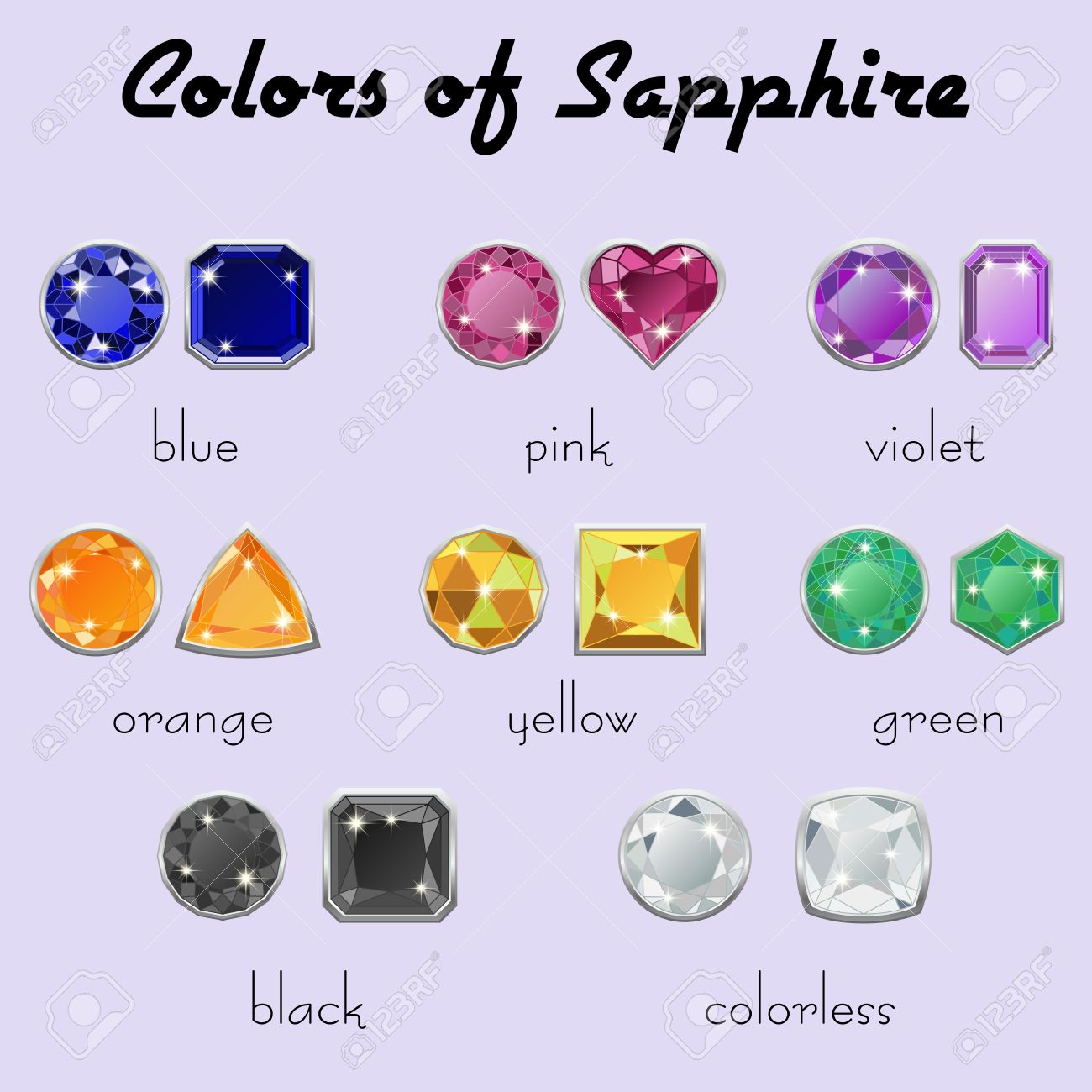 Set Of Crystals In Different Types Of Cuts Of Precious Stone ...