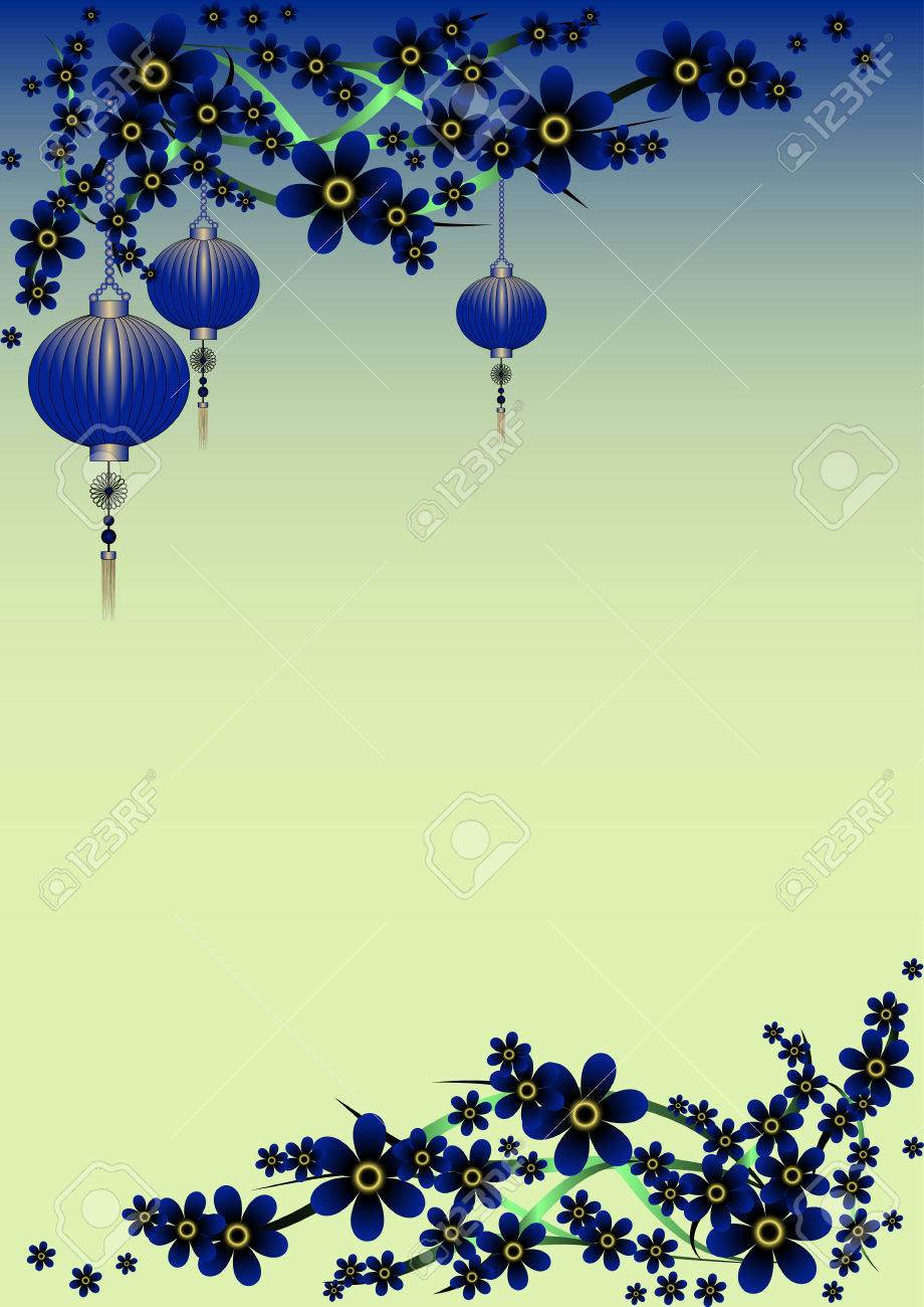 Holiday Greeting Postcard With Branch Of Sakura And Sky Lanterns
