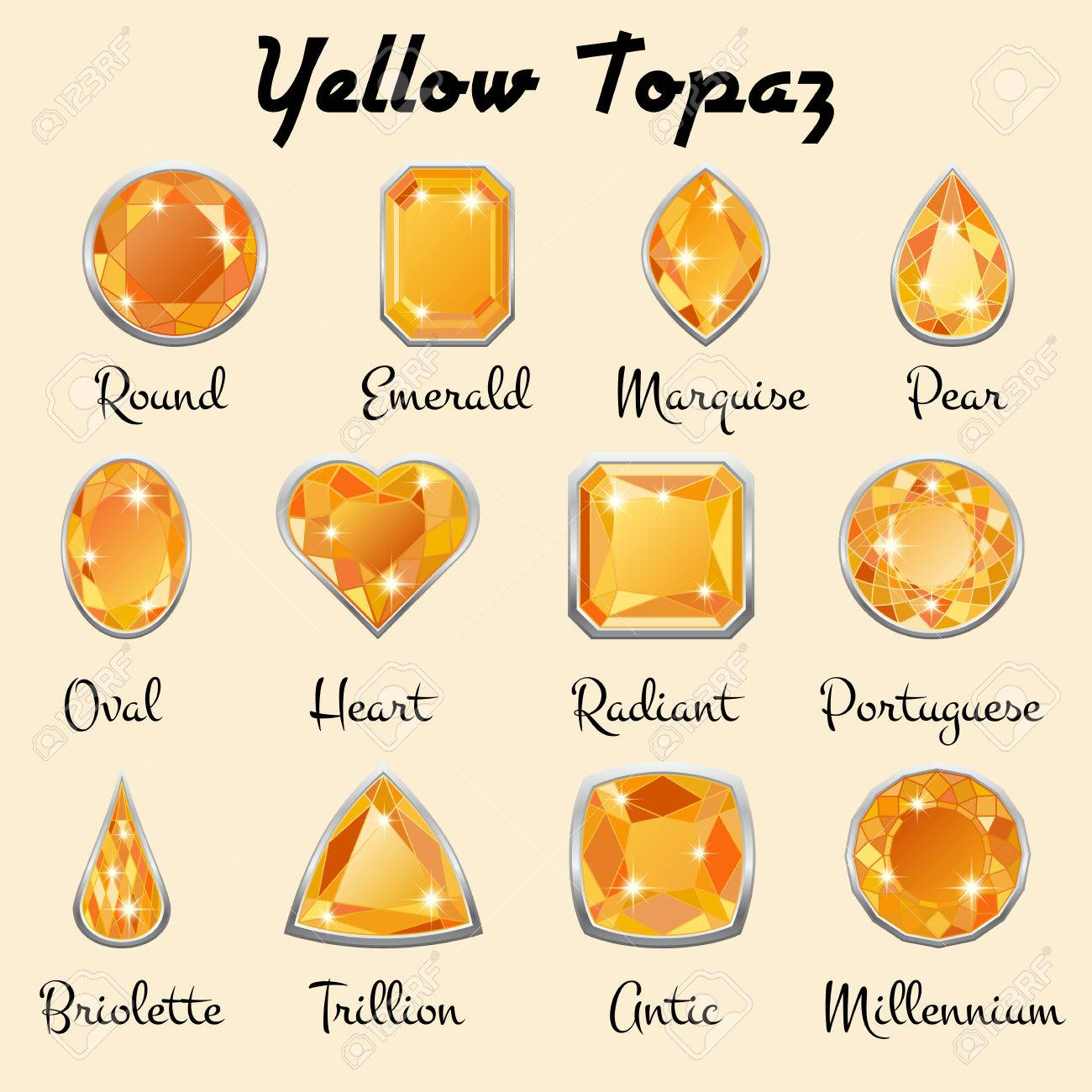 Set Of Different Types Of Cuts Of Precious Stone Topaz In Realistic