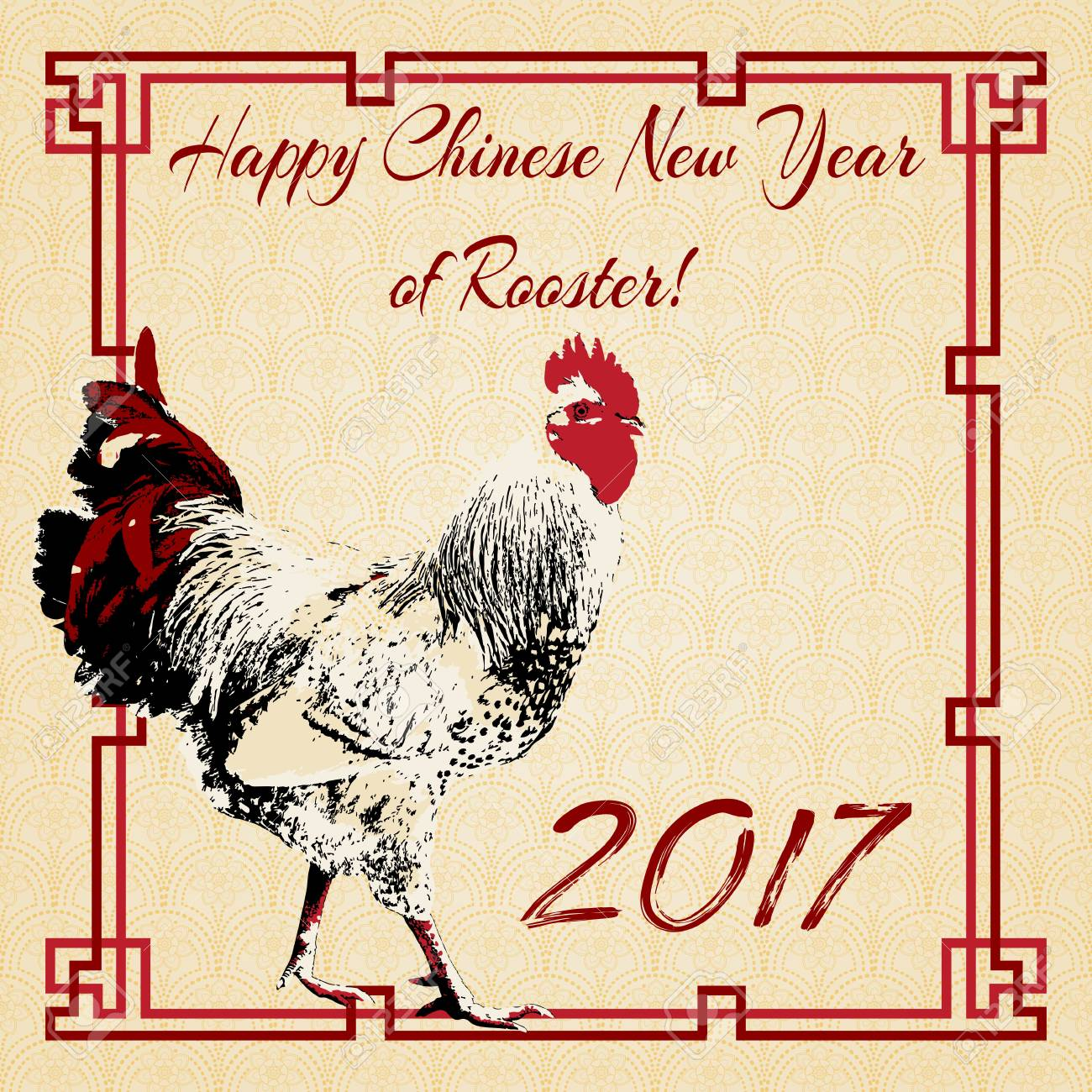 Greeting Postcard To Chinese New Year With Rooster In Red Frame ...