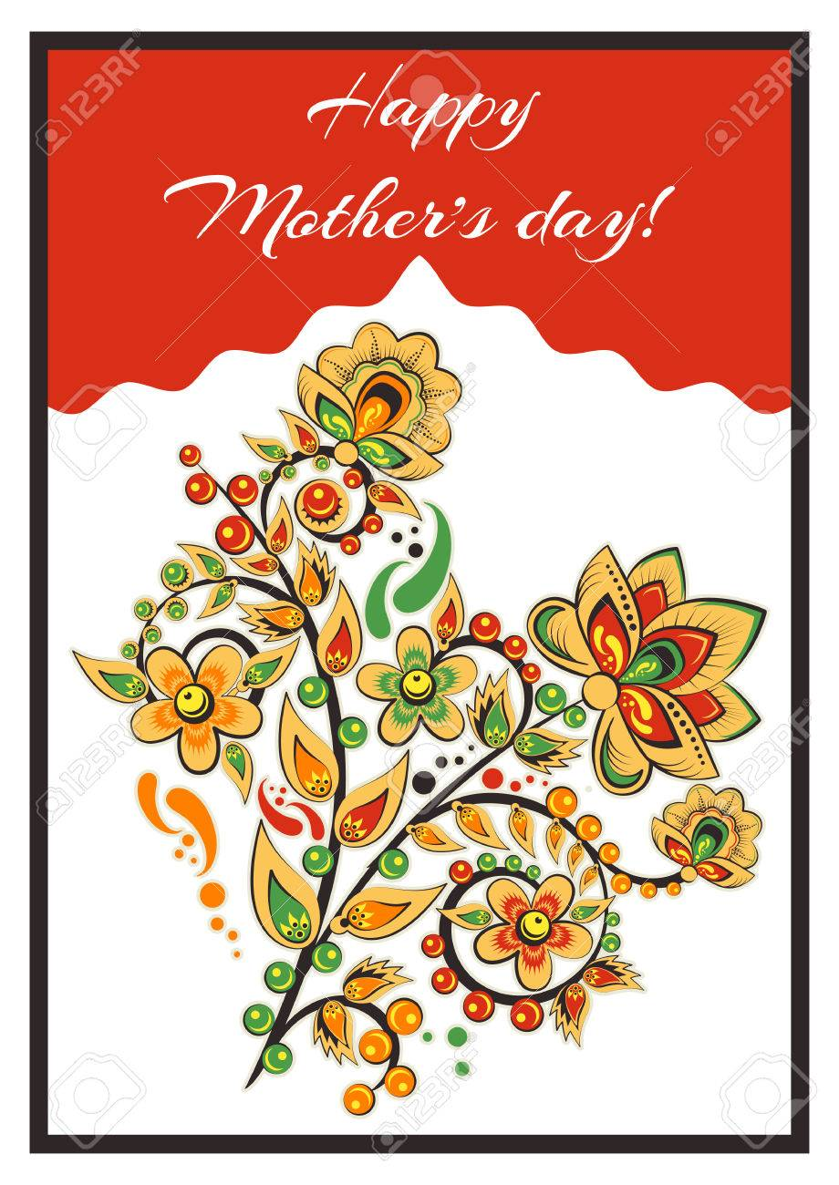 Greeting Card With Khokhloma Floral Ornament Postcard For Womens