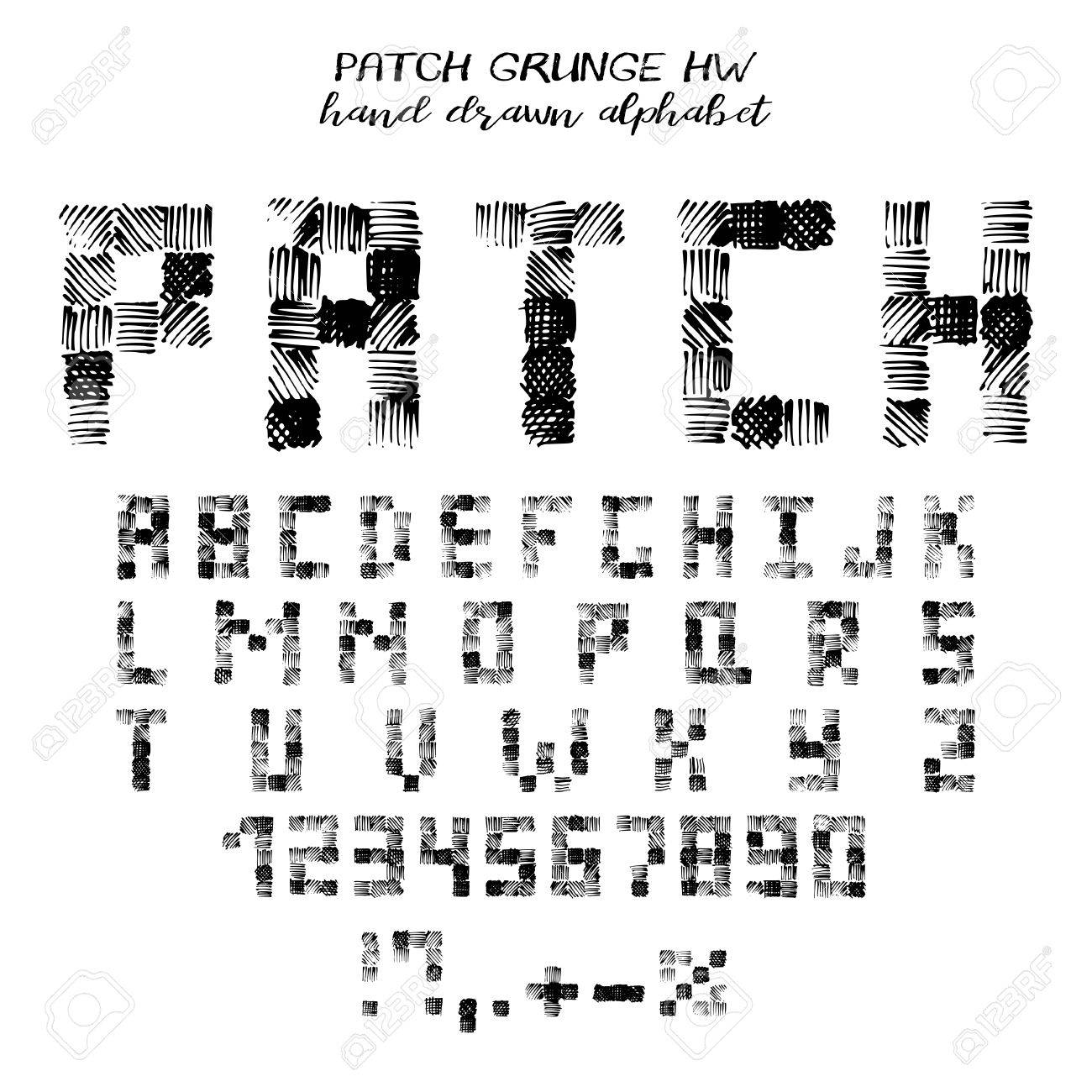 Hand Drawn Alphabet Written Grunge Font With Symbols In Style