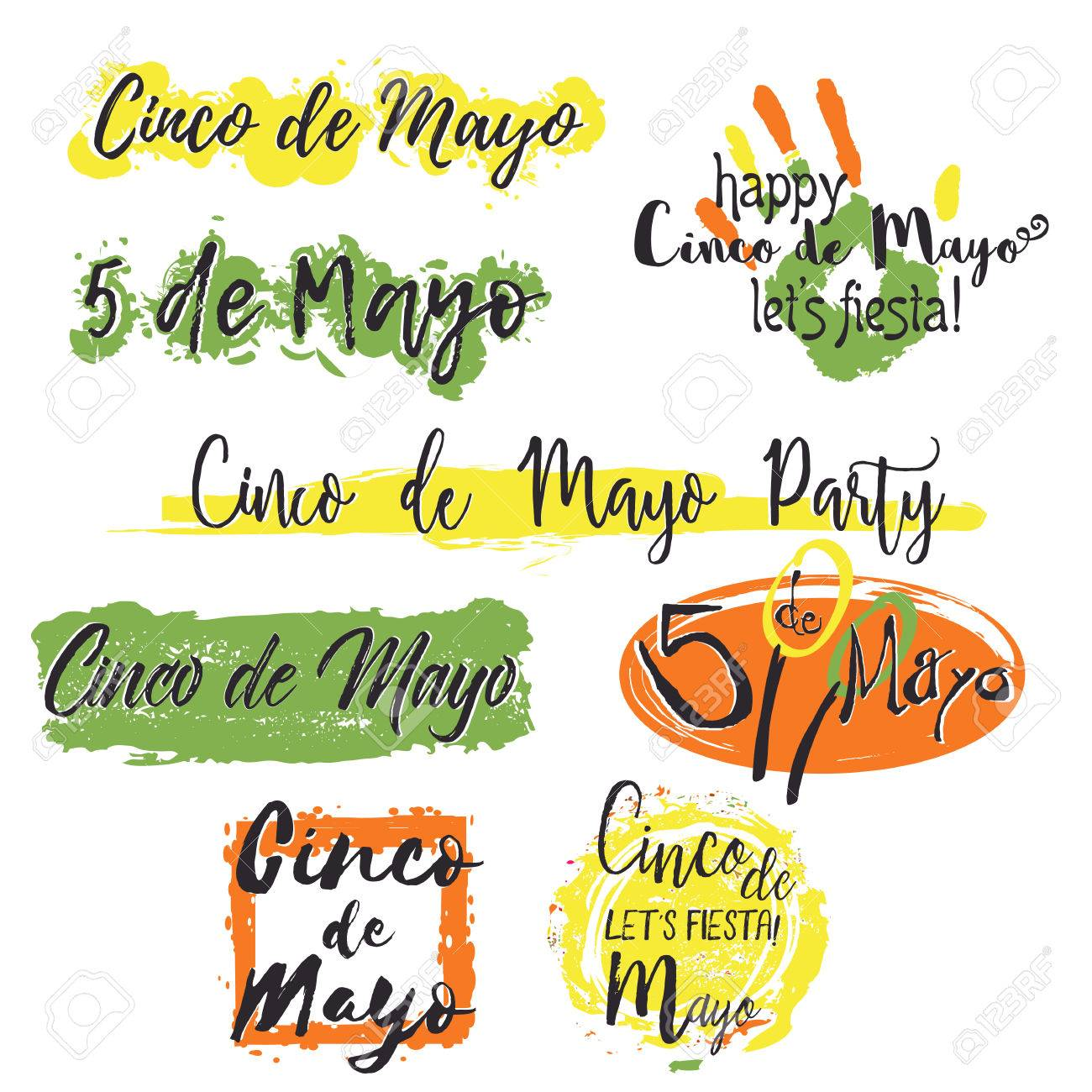 set with different lettering cinco de mayo with colorful splashes