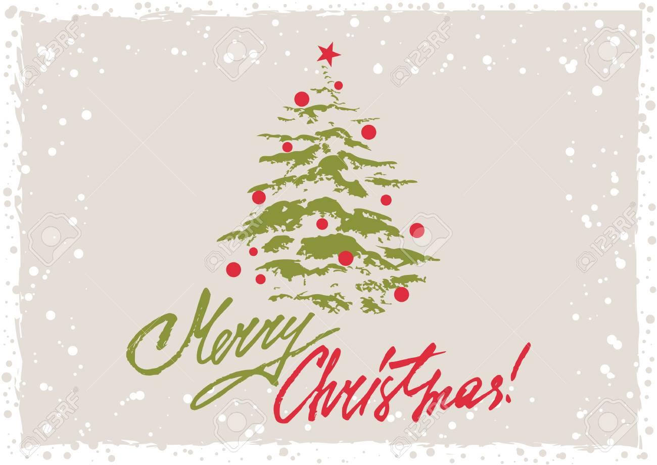 Immagini Natalizie Con Scritte.Biglietto Di Auguri In Stile Retro Grunge Con Albero Di Natale E Lettere Scritte A Mano Nei Colori Di Natale Illustrazione Vettoriale