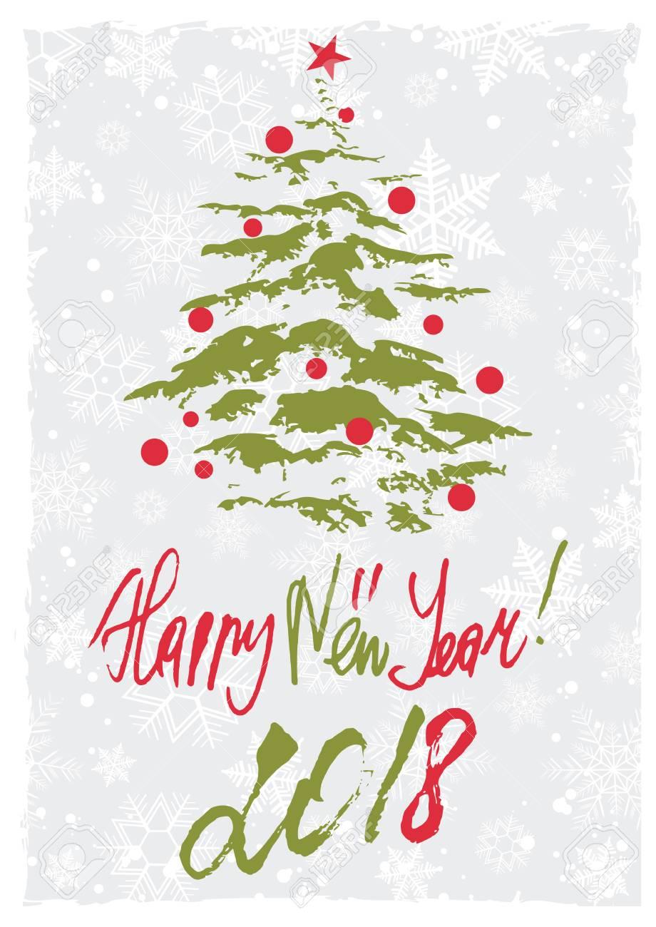 クリスマス ツリーとクリスマス色で手書きレタリング グランジ レトロなスタイルのグリーティング カードベクトル図