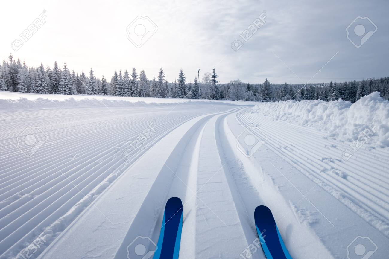 Winter landscape with cross country skiing trails, Jeseniky mountains, Czech Republic - 91326216