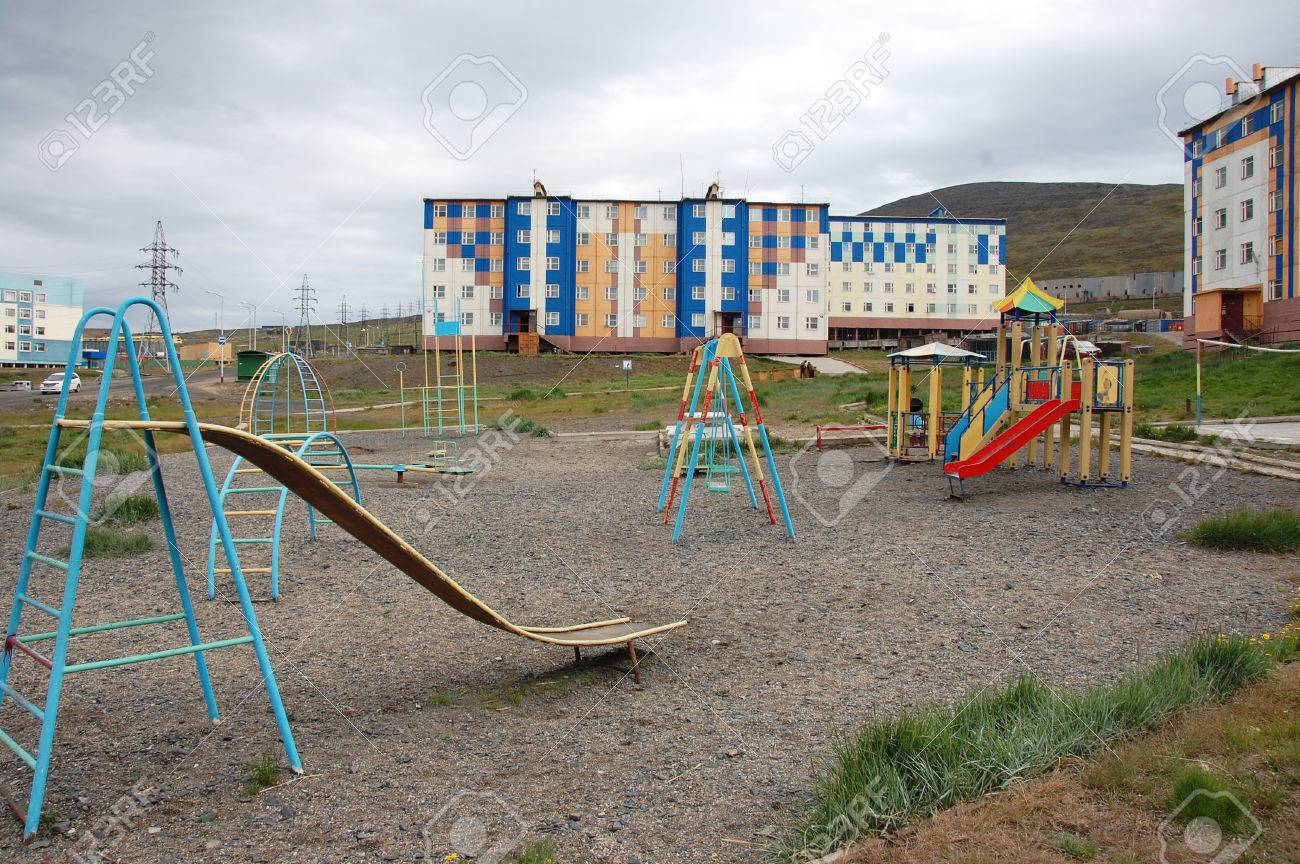 Playground At Arctic Town Area Pevek Chukotka Russia Stock Photo Picture And Royalty Free Image Image 53556202