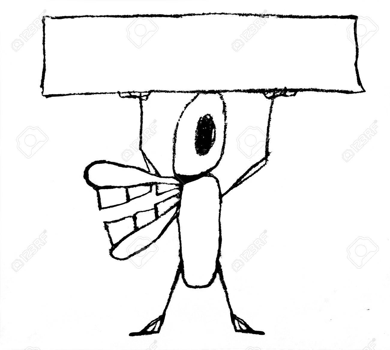 Pencil drawing funny monster cartoon with an empty banner in