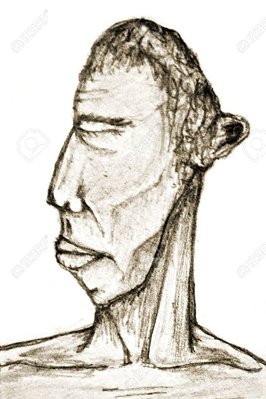 Main Dessiner Illustration D Un Portrait De L Homme Avec La Poitrine