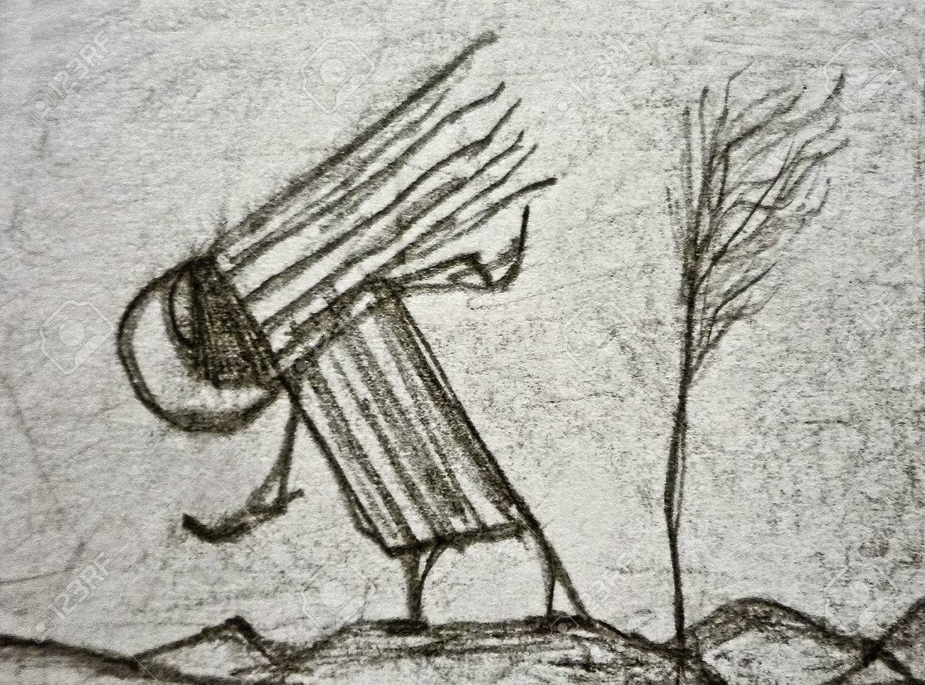 Pencil drawing artwork depicting an strange alien animal in a nature environment with mountains and a