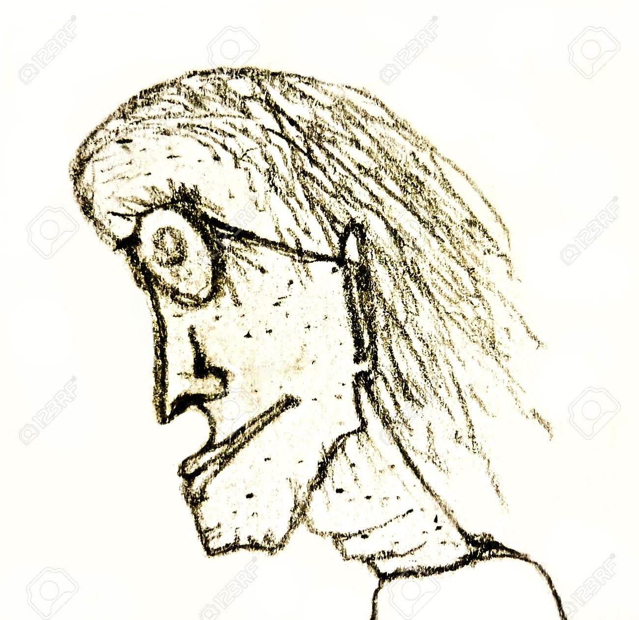 Illustration pencil drawing illustration of an old woman with glasses in white background
