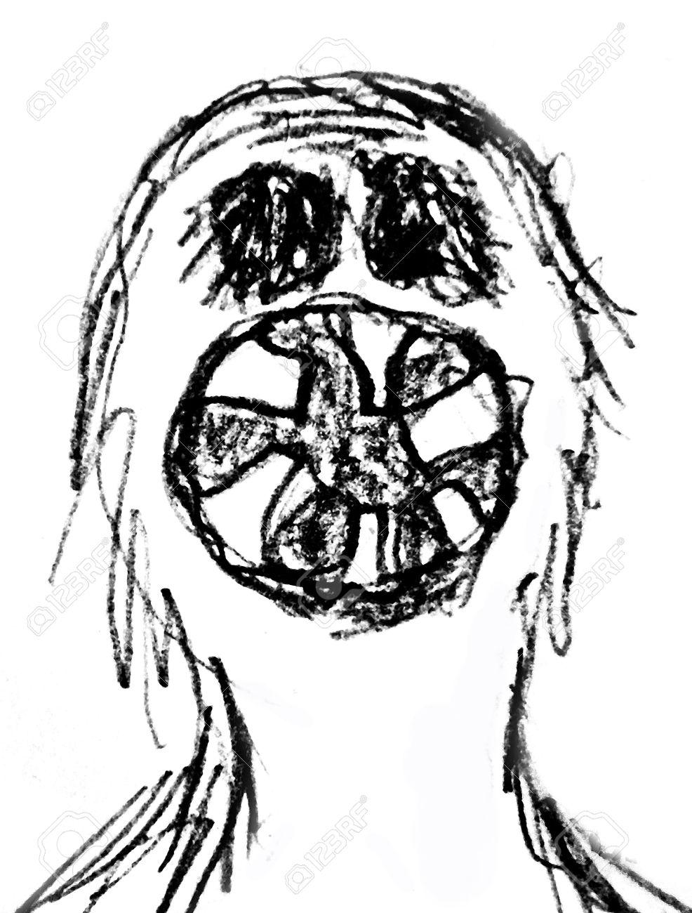 Lápiz De Dibujo Ilustración De La Trama De Un Monstruo Con La Boca