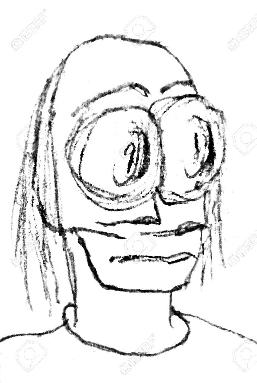 Pencil drawing raster rough illustration of a kind of an alien men with a worried or