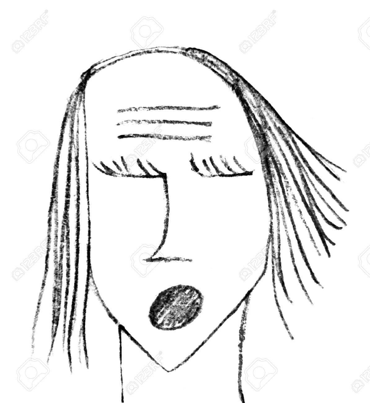 No Trama Ilustración Dibujo A Lápiz Mujer Ojos Monstruo Gritando En