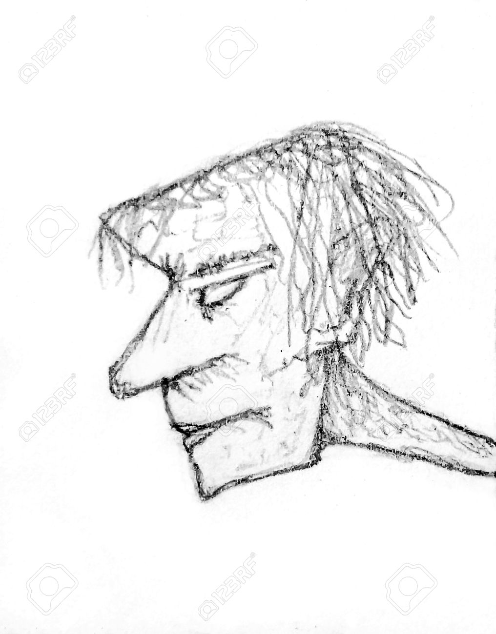 Illustration pencil drawing raster illustration in gray tones of a man head with big noise and mad or angry expression in side view