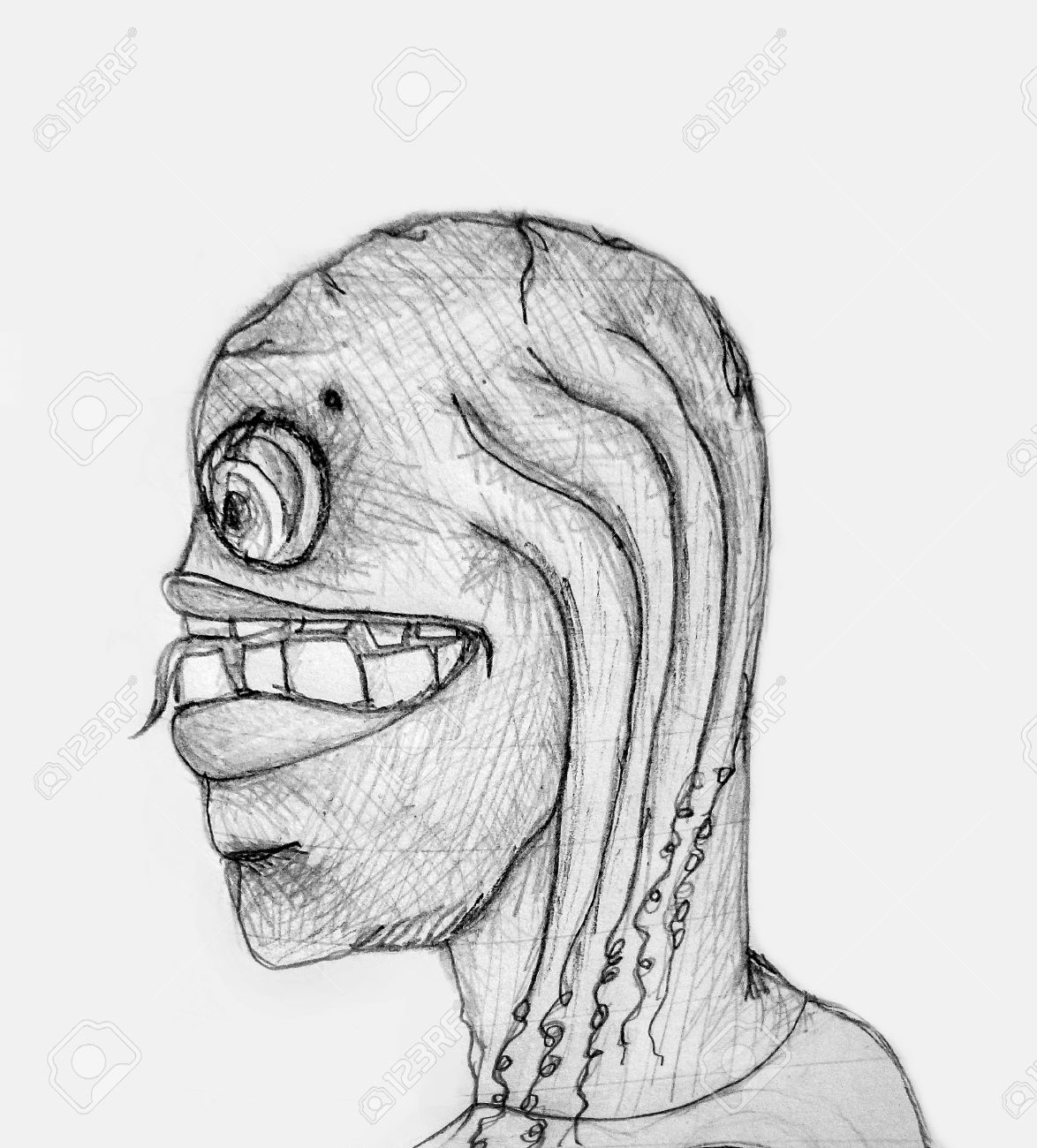 Pencil drawing artwork depicting an strange futuristic monster alien or man in black and white tones