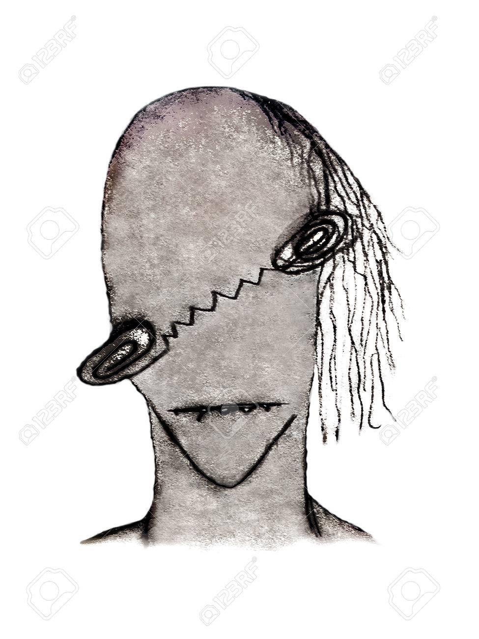 Dibujo A Lápiz Ilustraciones De Trama Que Representa A Un Monstruo