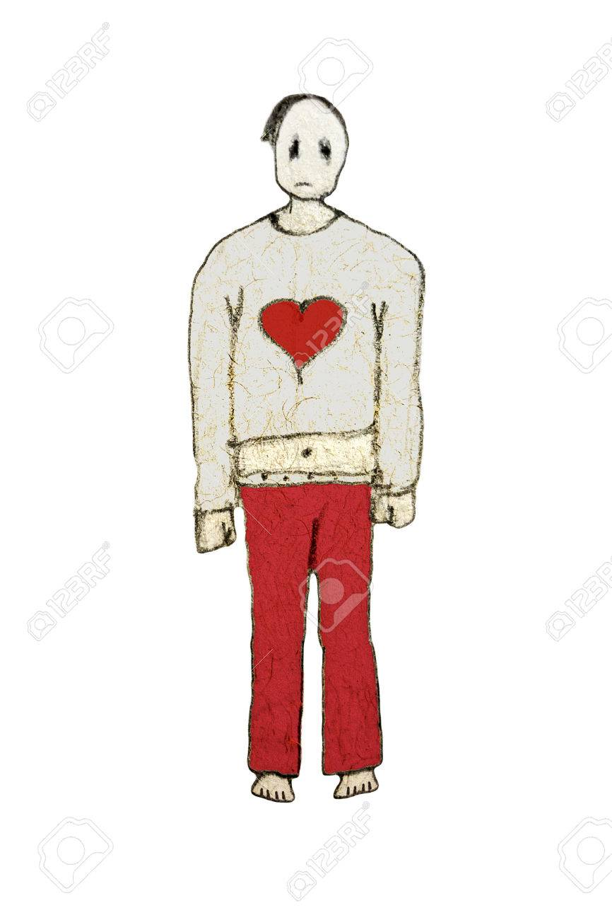 Illustration pencil drawing sketch raster illustration full body front view portrait of emo boy with sad expression in red and gray colors isolated in