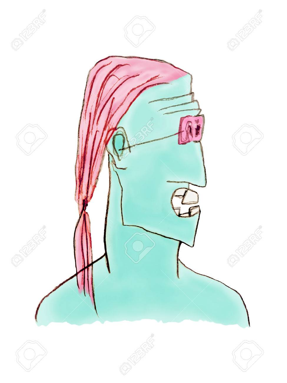 Angry expression long haired man with tail with surreal color skin pencil drawing illustration isolated in