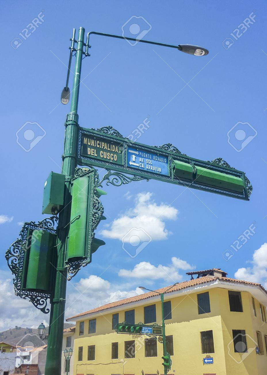 Low angle view ornament elegant old style urban post and traffic