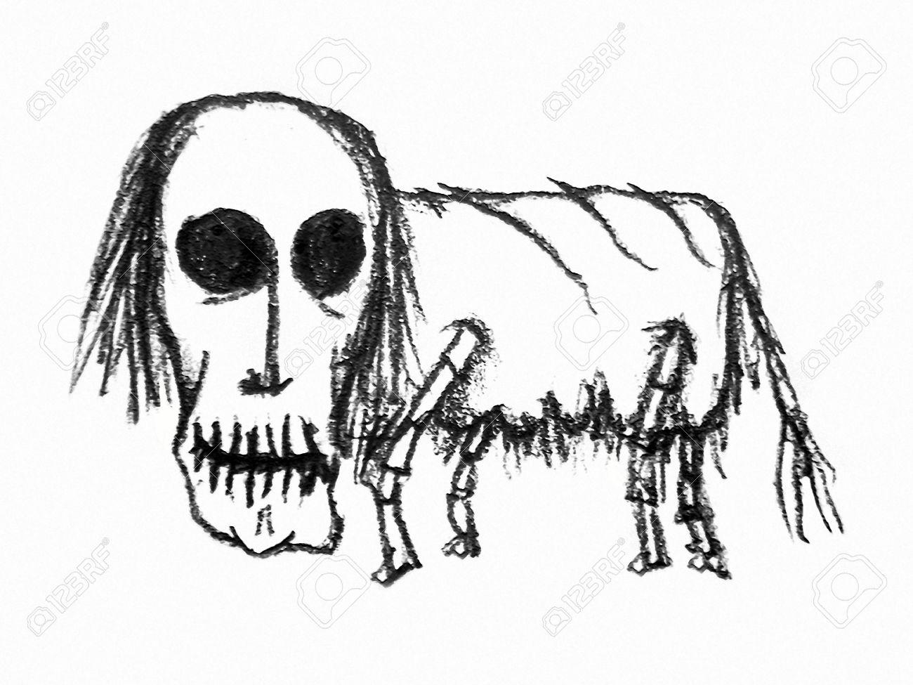 Técnica De Dibujo Ejemplo Del Lápiz De La Trama De Fantasía Zombie