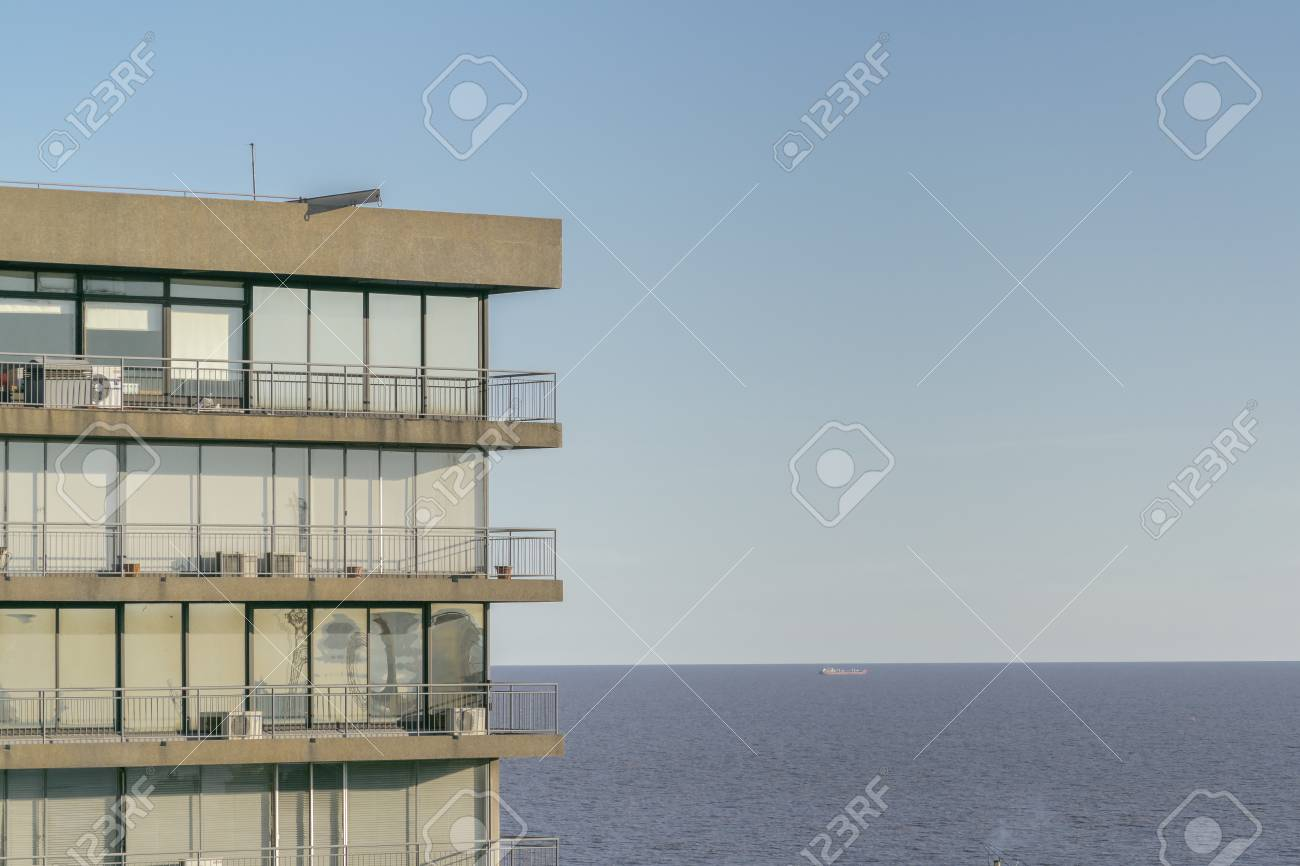Aerial view of modern style apartments building and the river..
